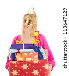 Woman with a lot of gifts - stock photo