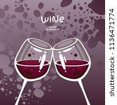 glasses of red wine on gradient ...   Shutterstock .eps vector #1136471774