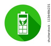 bio battery green icon in badge ... | Shutterstock .eps vector #1136486231