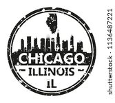 chicago illinois travel stamp... | Shutterstock .eps vector #1136487221