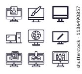 set of 9 monitor outline icons... | Shutterstock . vector #1136490857