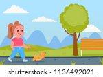 cute child girl character walks ... | Shutterstock .eps vector #1136492021