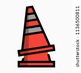 coloured outline safety cone... | Shutterstock .eps vector #1136500811