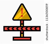 coloured outline caution notice ... | Shutterstock .eps vector #1136500859
