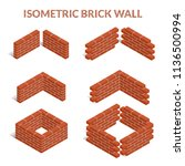 red brick walls of the house ... | Shutterstock . vector #1136500994