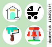 simple 4 icon set of family... | Shutterstock .eps vector #1136501669