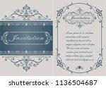 decorative frame in vintage... | Shutterstock .eps vector #1136504687