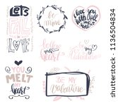 set of vector hand drawn love... | Shutterstock .eps vector #1136504834
