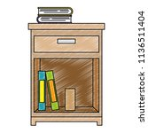office drawer with books   Shutterstock .eps vector #1136511404