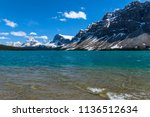 bow lake   a spring day view of ... | Shutterstock . vector #1136512634