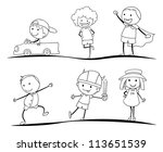 kids activity sketches on a...