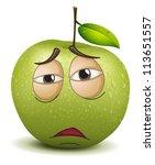 Illustration Of A Sad Apple...
