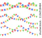 set of garland with celebration ... | Shutterstock .eps vector #1136518484
