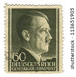 Small photo of GERMANY - CIRCA 1943: A stamp printed in Germany shows image of Adolf Hitler was an Austrian-born German politician and the leader of the Nazi Party, in black, circa 1943.