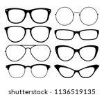 various black silhouete glasses.... | Shutterstock .eps vector #1136519135