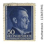 Small photo of GERMANY - CIRCA 1943: A stamp printed in Germany shows image of Adolf Hitler was an Austrian-born German politician and the leader of the Nazi Party, in blue, circa 1943.