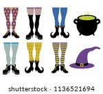 various witch leg designs with... | Shutterstock .eps vector #1136521694