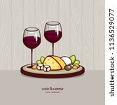 wine and cheese vector... | Shutterstock .eps vector #1136529077