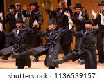 Small photo of New York, NY - July 15, 2018: Cast perform dance during premiere of musical Fiddler on the Roof in Yiddish at Museum of Jewish Heritage
