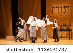 Small photo of New York, NY - July 15, 2018: Matchmaker scene during premiere of musical Fiddler on the Roof in Yiddish at Museum of Jewish Heritage