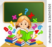 children in classroom do not... | Shutterstock .eps vector #1136545505