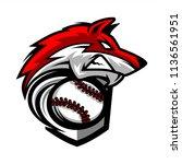 baseball wolf team logo   Shutterstock .eps vector #1136561951