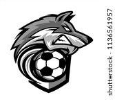 football wolf team logo   Shutterstock .eps vector #1136561957