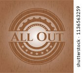 all out badge with wood... | Shutterstock .eps vector #1136563259
