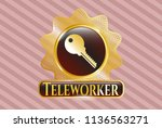 gold badge or emblem with key... | Shutterstock .eps vector #1136563271