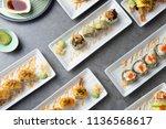 various sushi roll flat lay shot | Shutterstock . vector #1136568617