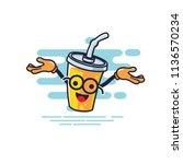 cup character open hands style... | Shutterstock .eps vector #1136570234