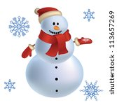 cute snowman with snowflakes.... | Shutterstock .eps vector #113657269