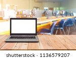 computer on the table  blur... | Shutterstock . vector #1136579207