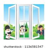 spy cameraman and gossip girl... | Shutterstock .eps vector #1136581547