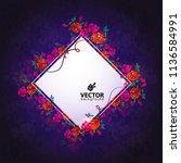 beautiful bouquet of flowers.... | Shutterstock .eps vector #1136584991