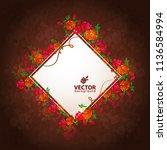 beautiful bouquet of flowers.... | Shutterstock .eps vector #1136584994