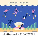 people who enjoy diving in the... | Shutterstock .eps vector #1136591921