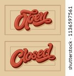 lettering open closed for the... | Shutterstock .eps vector #1136597561
