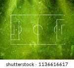 soccer field lines on old paper | Shutterstock . vector #1136616617