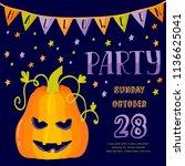 happy halloween greeting card....   Shutterstock .eps vector #1136625041