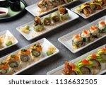 various sushi roll shot   Shutterstock . vector #1136632505