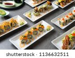 various sushi roll shot   Shutterstock . vector #1136632511