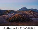 mount bromo volcanic in sunrise ... | Shutterstock . vector #1136642471