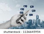 hand holding mobile smart phone ... | Shutterstock . vector #1136645954