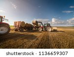 agriculture straw wagon in farm ... | Shutterstock . vector #1136659307