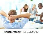 rear view of relaxed teacher...   Shutterstock . vector #113666047