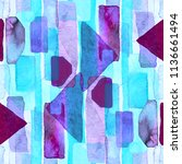 bauhaus pattern. holographic... | Shutterstock . vector #1136661494