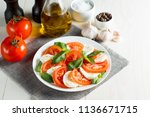 close up photo of caprese salad ... | Shutterstock . vector #1136671715