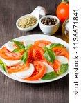 close up photo of caprese salad ... | Shutterstock . vector #1136671841