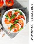 close up photo of caprese salad ... | Shutterstock . vector #1136671871
